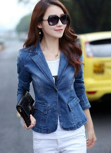NEW Female spring short paragraph denim clothing A buckle suit collar 2017Slimliilgal-liilgal