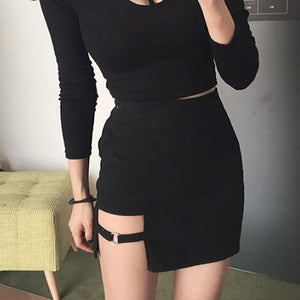 Women Skirt 2018 New Cool Harajuku Punk Gothic Summer Fashion Mini Highliilgal-liilgal
