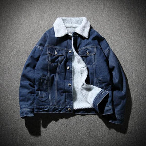 2018 new winter men's casual plus velvet thick warm denim jacket /liilgal-liilgal