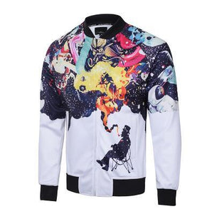NEW 2018 men 3D fashion jacket zipper long sleeved coatliilgal-liilgal