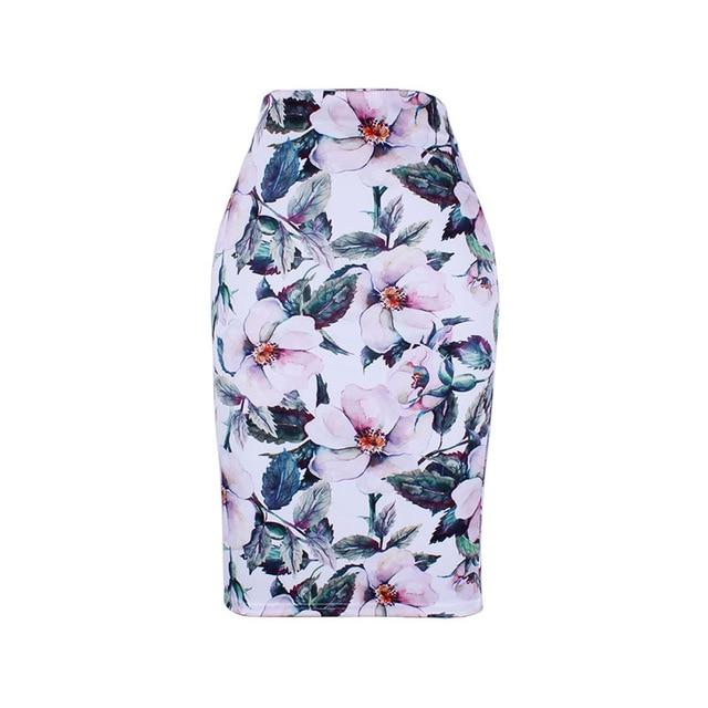 Fashion Flower Red Roses print women pencil skirts lady midi saias femaleliilgal-liilgal