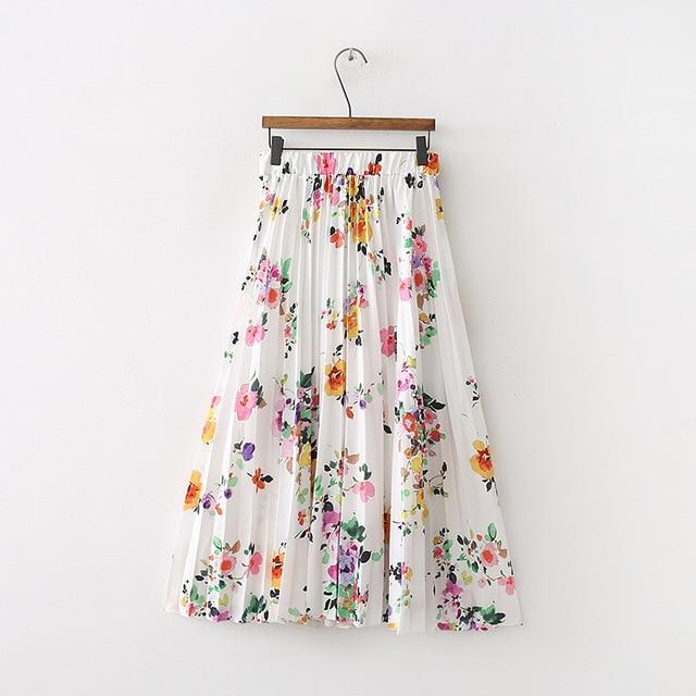 2018 New Women Skirts New Fashion Women's High Waist Pleated Flower Printingliilgal-liilgal