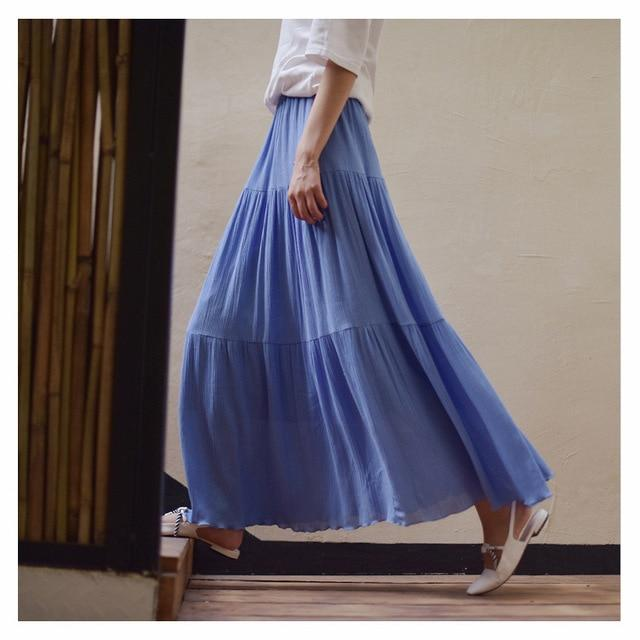 Sherhure 2018 Women Summer Long Skirt Cotton Linen Women Skirts Pink Highliilgal-liilgal
