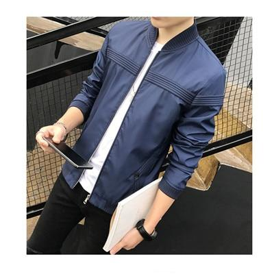 2018 Spring New Men's Korean Striped Decoration Leisure Jacket Solidliilgal-liilgal