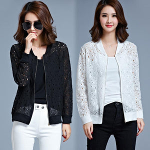 Women Jackets 2018 Autumn Winter Lace Cardigan Long Sleeve Coats Outwear Ceketliilgal-liilgal