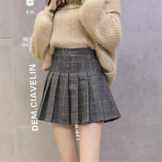 2018 Autumn High Waist Pleated A-line Skirts Girls Harajuku Woolen Plaid Skirtsliilgal-liilgal
