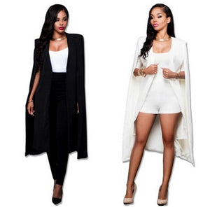 Women Fashion Cape Cardigan Plus Size Loose Long Cloak Jacket Coat Outerwearliilgal-liilgal
