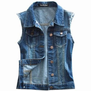 Large Size 4XL 2017 New Hole Casual Women's Jeans Vest High Qualityliilgal-liilgal