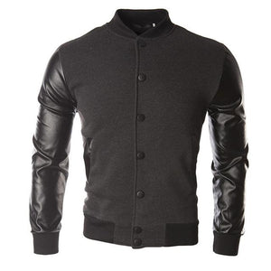 Long sleeves Men's baseball uniform 1Pcs Men's leather jacket Casual topsliilgal-liilgal