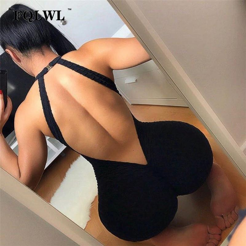 Backless Push Up Hips Rompers Womens Jumpsuit Hollow Out Black Stretchedliilgal-liilgal
