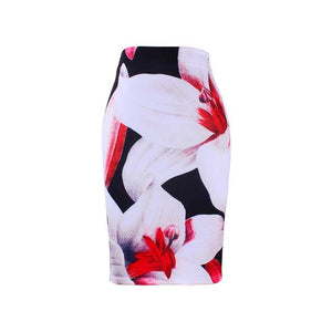Charming Flower print girls pencil skirts lady midi saias female faldas womenliilgal-liilgal