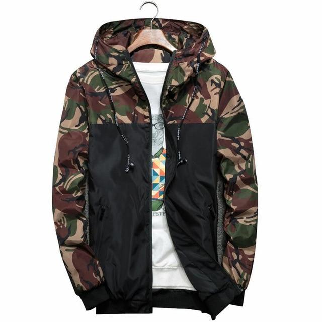 2018 Mens Fashion Jacket Thin Slim Long Sleeve Camouflage Military Jackets Hoodedliilgal-liilgal