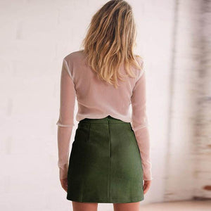 Leather Suede Pencil Skirt For Women Mini Skirt 2018 Spring High Waistliilgal-liilgal