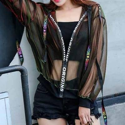 Summer Rave Festival Wear Clothes Thin Mesh Womens Hoodies Beach Bf Styleliilgal-liilgal