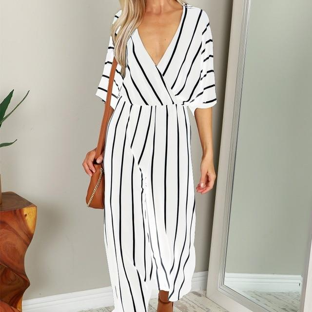 2018 Summer Elegant Women Striped Jumpsuits OL Work Wide Leg Pantsliilgal-liilgal