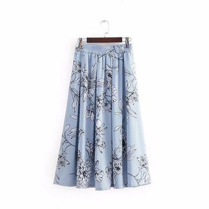 2018 New Women Vintage floral printing striped a line midi skirt ladiesliilgal-liilgal