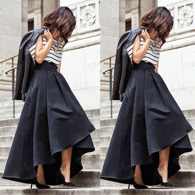 Women High Waist Pleated Skirts Stretch Flared Summer Street Clothes Wear liilgal-liilgal