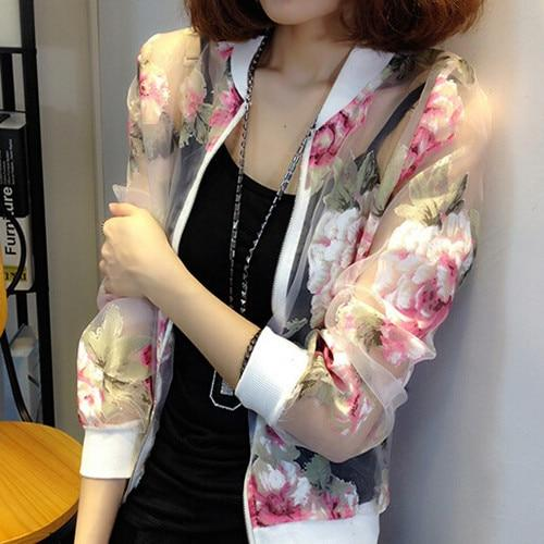2018 Summer Style Women Fashion Floral Print Lace Coats Jackets Femaleliilgal-liilgal