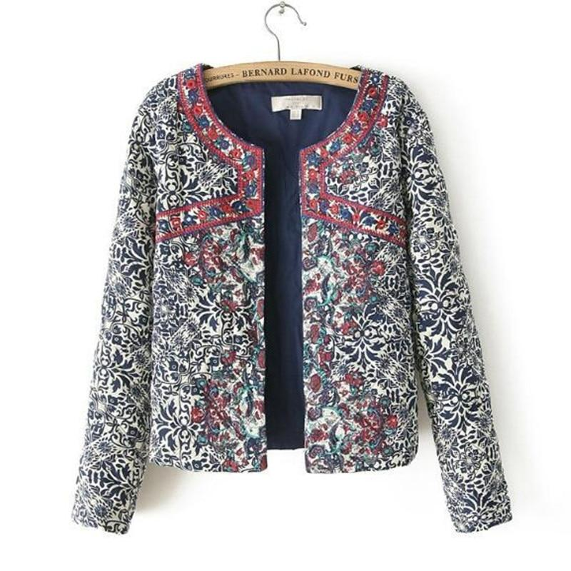 Bohemian Red Embroidery Blue White Floral Print Paisley Jacket Ethnic Women Oliilgal-liilgal
