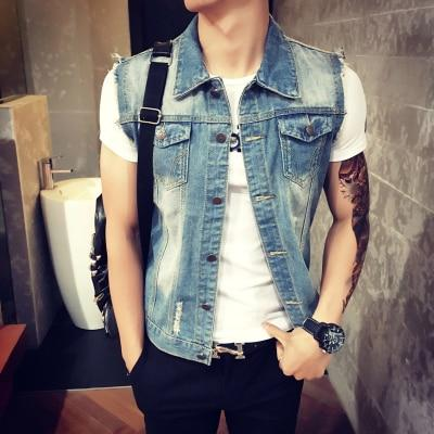 Mens Denim Vest 2018 New Brand Jeans Vests Men Slim Fit Sleevelessliilgal-liilgal