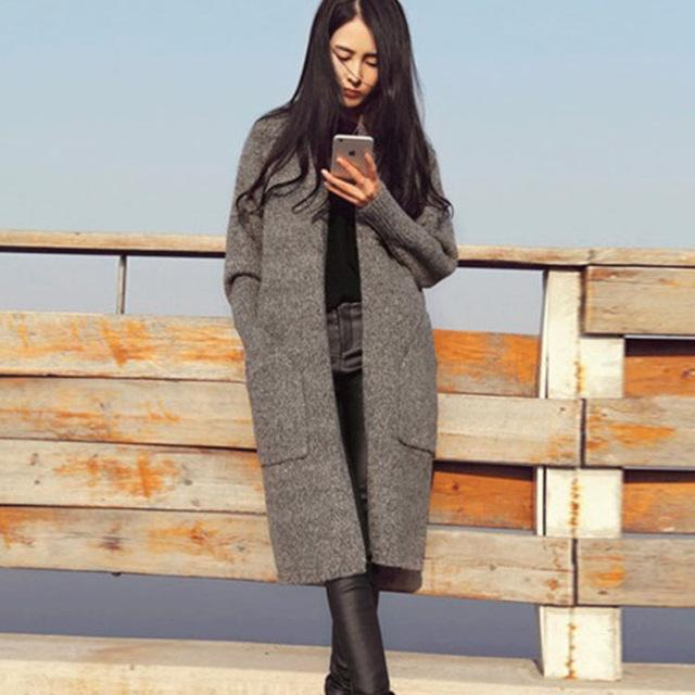 Europe Style Knitted Trench Coat Cardigans Sweaters 2018 Women Oversized Cardigan Vintageliilgal-liilgal