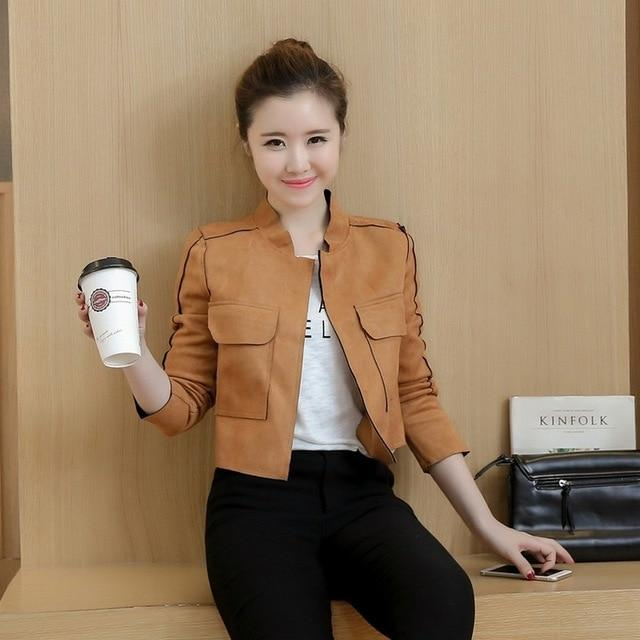 Open Stitch Short Jackets Women Suede Leather Jackets Autumn Wild Casual Cozyliilgal-liilgal
