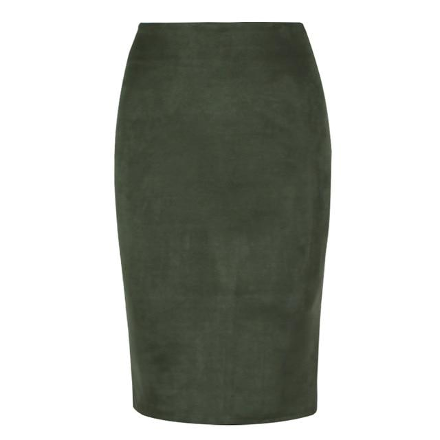 Fashion Empire Skirts 2018 Spring Faux Suede Pencil Skirt High Waist Bodyconliilgal-liilgal