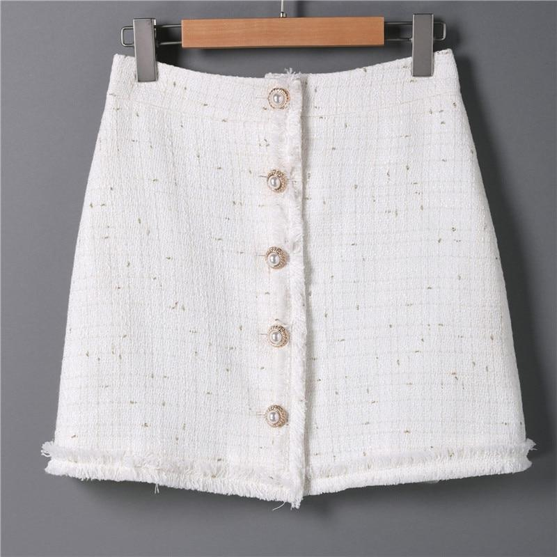 Women Casual Tweed Mini Skirt Female Elegant High Waist White Woolen Wrapliilgal-liilgal