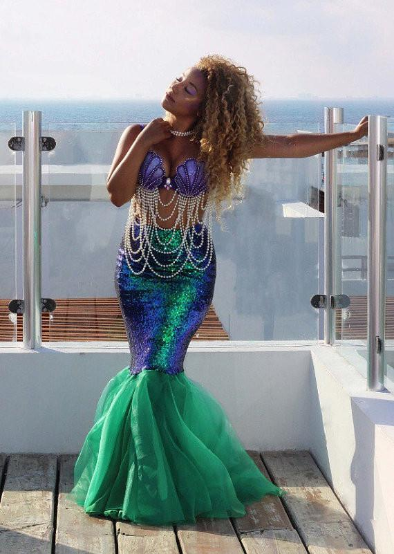 Dropshipping Hotsale Sexy Mermaid Womens adult costume Halloween Costume Fancy Party Sequinsliilgal-liilgal