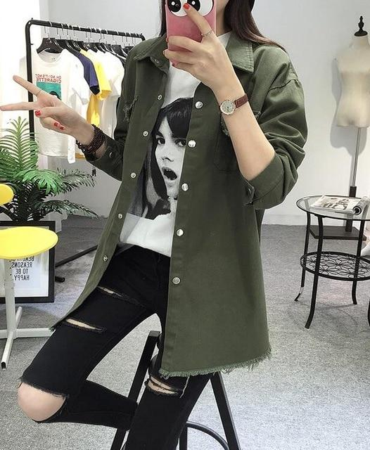 2018 Spring Autumn New Long Section Lapel Tassel Denim Jackets Women Looseliilgal-liilgal