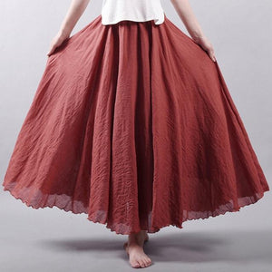 Women Cotton Linen Skirt Summer Boho Pleated Elastic Waist Layers Longliilgal-liilgal