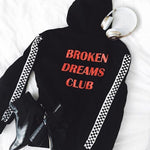 2018 Autumn Harajuku Checkerboard Pattern Sleeve Broken Dreams Club Hoodies Women Looseliilgal-liilgal