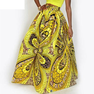 2018 women African Dashiki elastic Autumn winter summer Maxi beach skirt Floralliilgal-liilgal