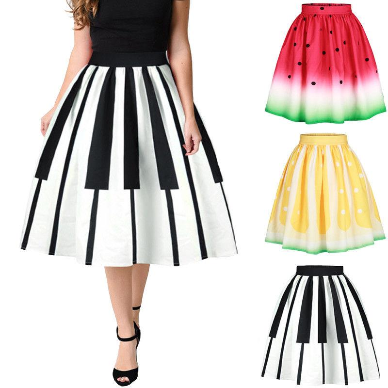 2018 Fruit Pattern 3 Styles Women Casual Skirts Summer Party Elastic Highliilgal-liilgal