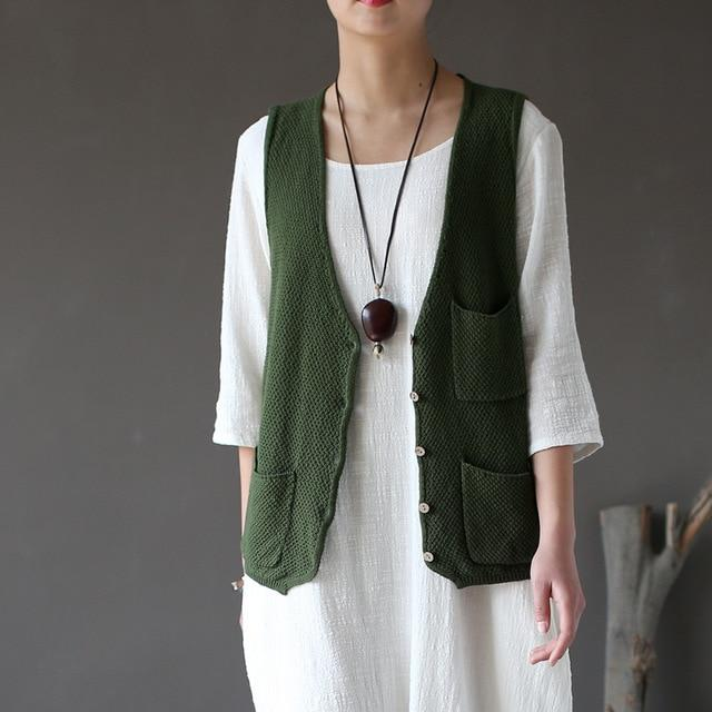 Vintage Vests 2018 New Summer Women Cotton Thin Breathable Soft Solidliilgal-liilgal
