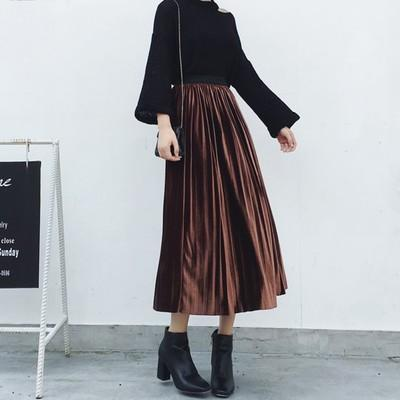 ELEXS Autumn Winter Fashion Skirt High Waist Velvet Pleated Skirt Women Solidliilgal-liilgal