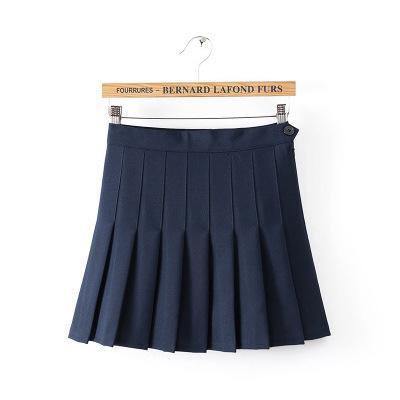 summer American School Style Fashion Women elegant half Pleated mini Skirts highliilgal-liilgal