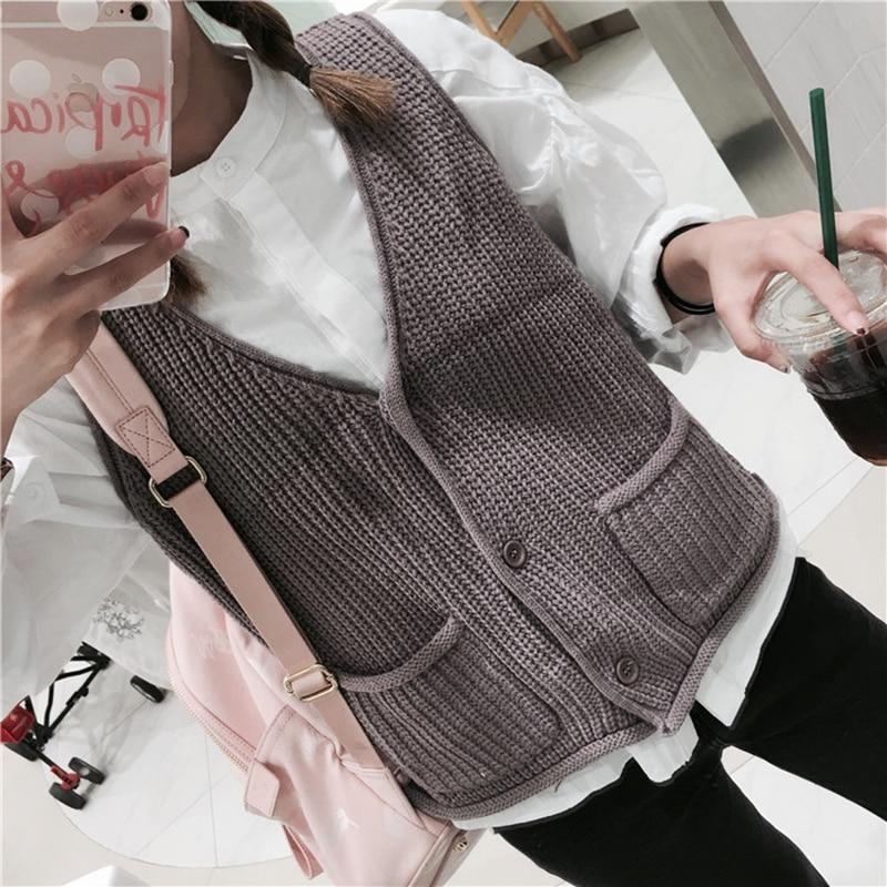 Vintage Sleeveless short Knitted Vest women's Spring Knitted sweater Cardigan Poncho Openliilgal-liilgal
