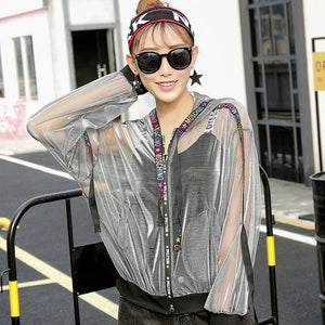 Holographic Hip Hop Women Hoodies Outfits Transparent Autumn Anti-Sun Baseball Jacket Outwearliilgal-liilgal