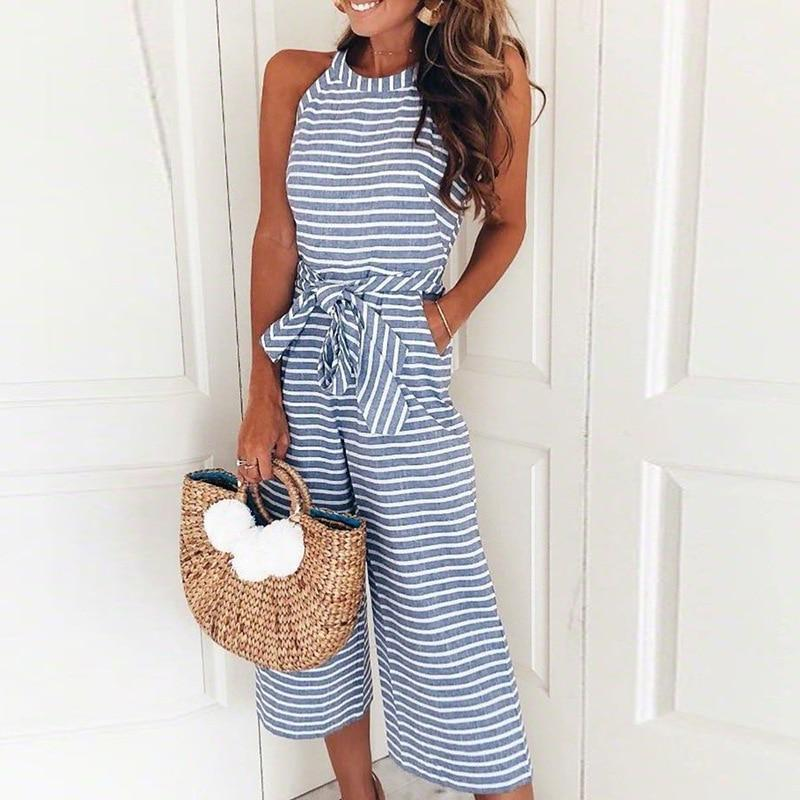 Women Striped jumpsuits Sexy Sleeveless Casual Sashes Rompers Back With Zipperliilgal-liilgal