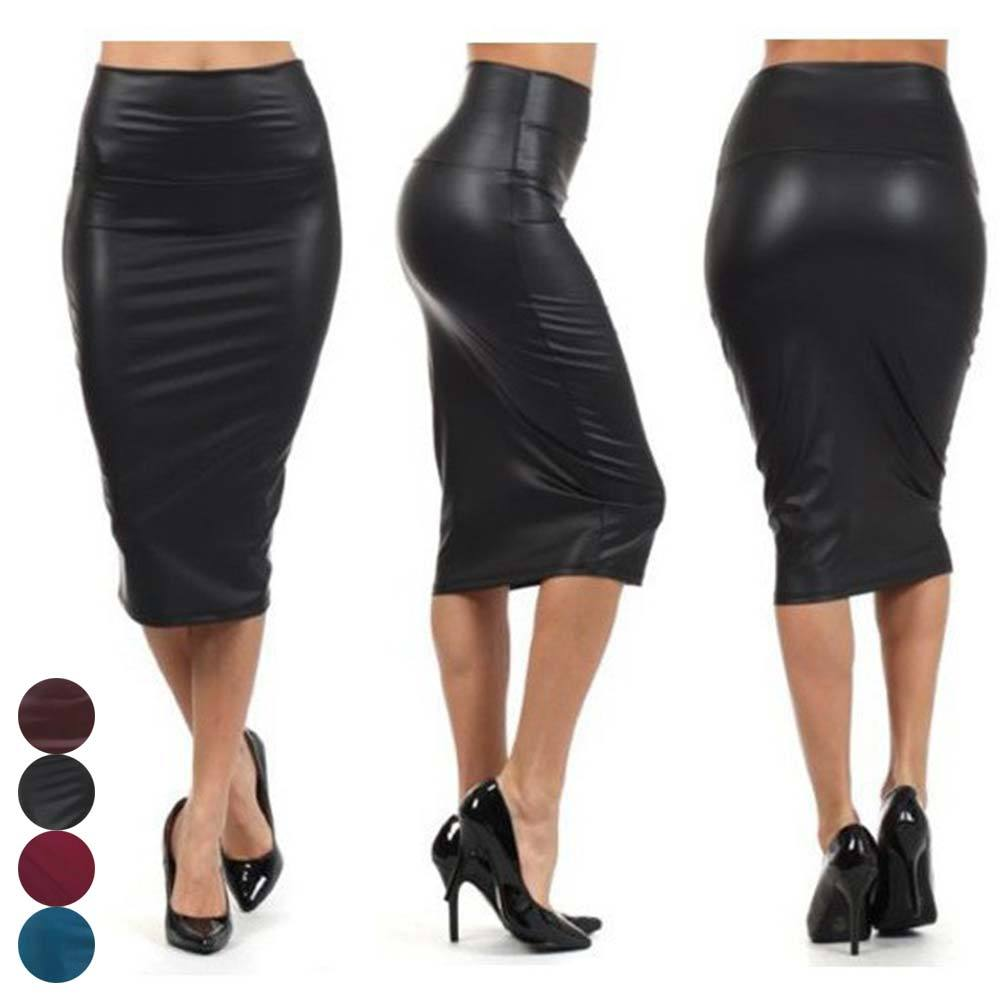 Women High Waist Faux Leather Pencil Skirt Bodycon Skirt Solid Sexy OLliilgal-liilgal