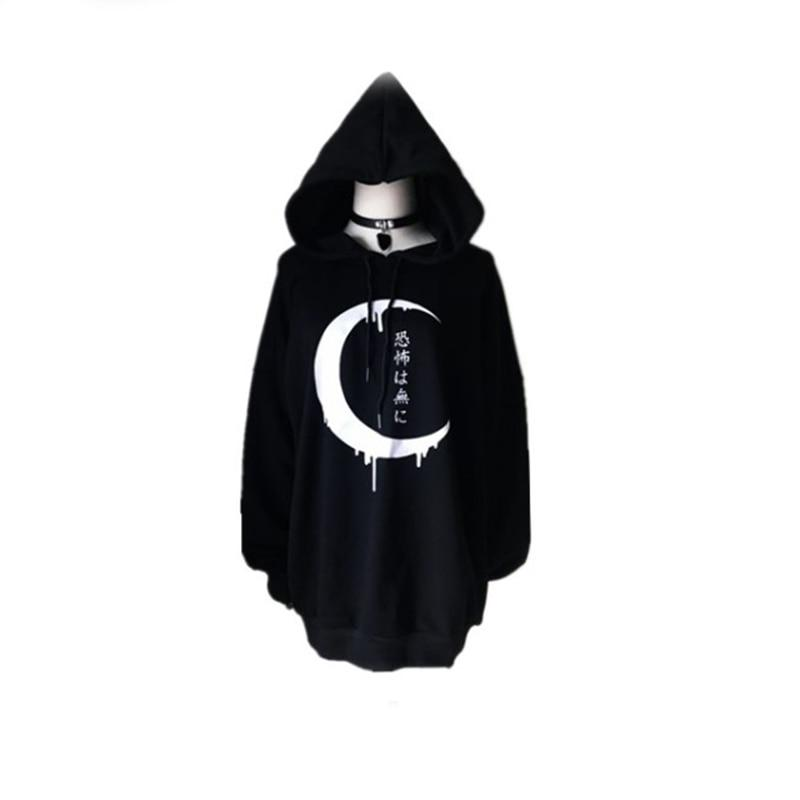Gothic Women Hoodies Long Sleeve Japanese Moon Print Pullover Loose Hoody Blackliilgal-liilgal