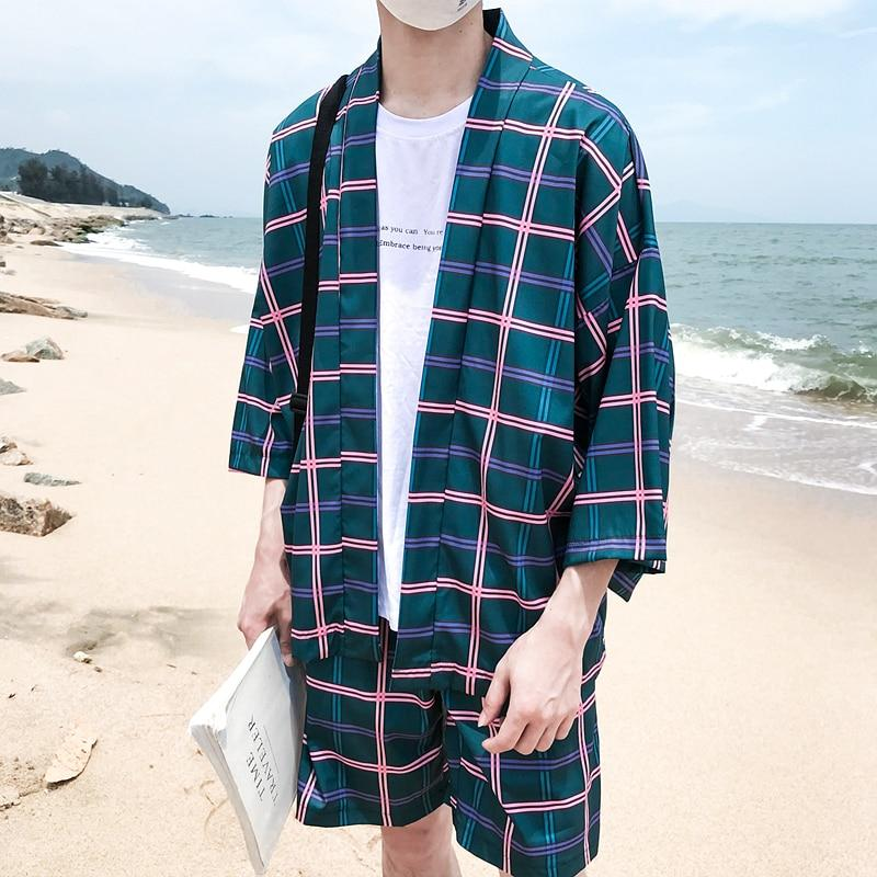 Plaid Printed Kimono Jacket Men Summer Beach Sun Proof Men's Jacket Threeliilgal-liilgal