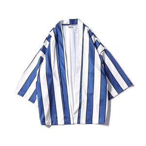 Striped Open Stitch Three Quater Thin Style Kimono Jacket 2018 Summer Beachliilgal-liilgal