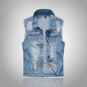 2018 Cotton Jeans Sleeveless Jacket Men Plus Size 6XL Dark Blueliilgal-liilgal