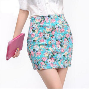 2018 Spring Summer Sexy women Fashion Girl flower full Printing Short Skirtsliilgal-liilgal