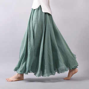 2018 Women Linen Cotton Long Skirts Elastic Waist Pleated Maxi Skirts Beachliilgal-liilgal