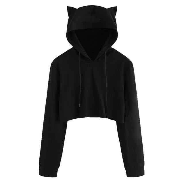 Cute Womens Sweatshirts Hoodie Crop Tops Solid Cat Ear Long Sleeveliilgal-liilgal