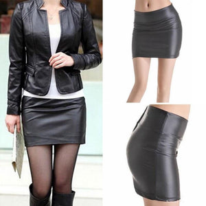 Women Sexy Bodycon Mini Skirt Faux Leather Zip High Waist Mini Shortliilgal-liilgal