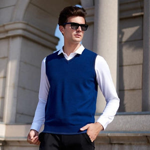 Chalecos Hombre Invierno 2018 Classic V-neck Collar Sleeveless Male Sweater Vest Knitwearliilgal-liilgal